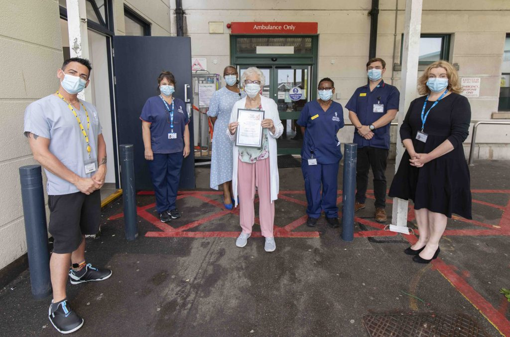Bidge Garton and colleagues from UHSussex outside A&E at RSCH